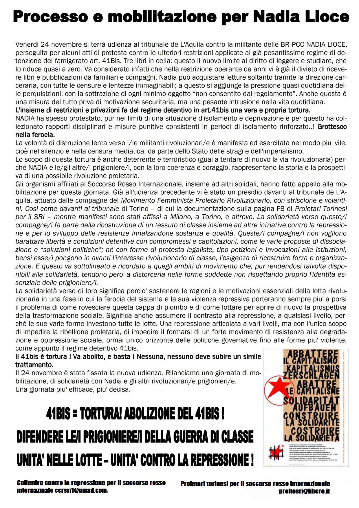 Processo e mobilitazione per Nadia Lioce