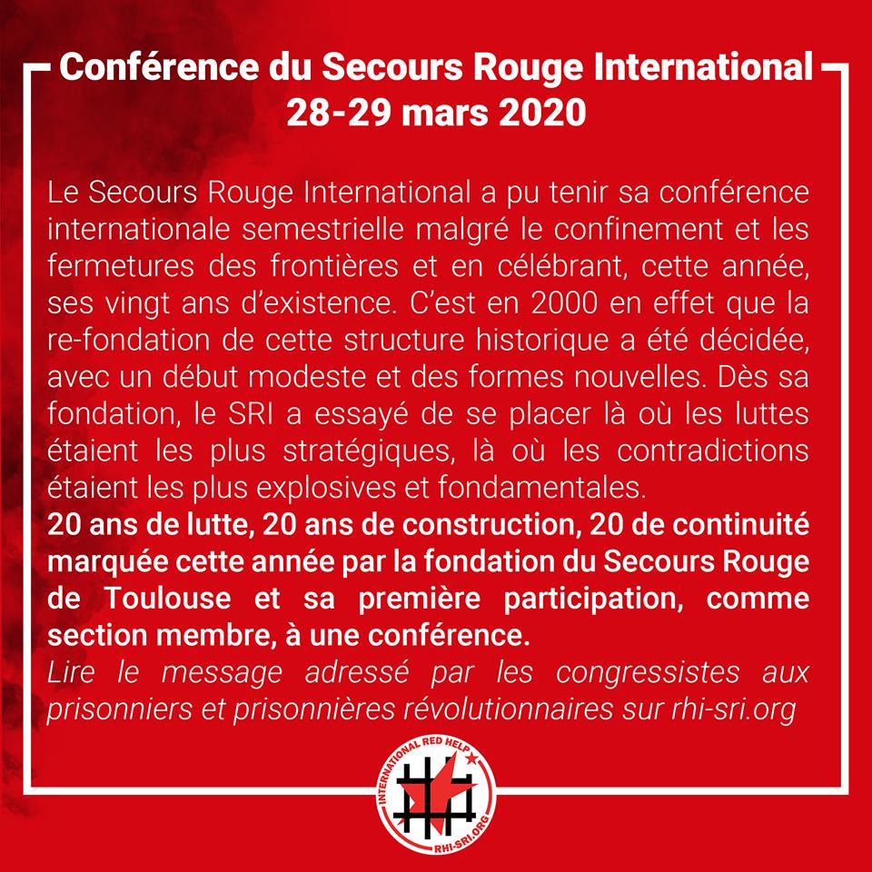 Conférence du SRI: Salutation aux prisonniers révolutionnaires