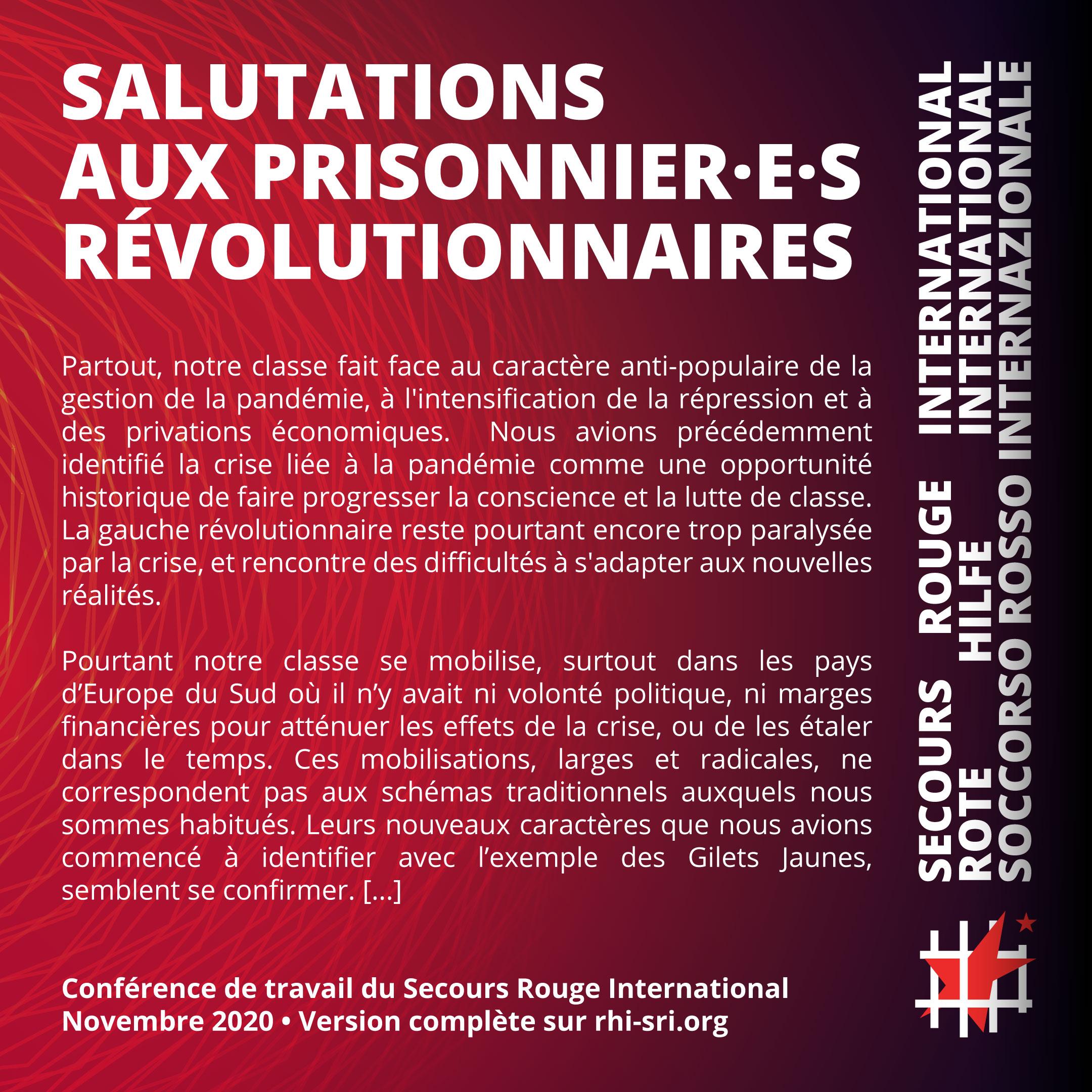 Salutations aux prisonnier·e·s révolutionnaires à la Conférence du SRI, novembre 2020