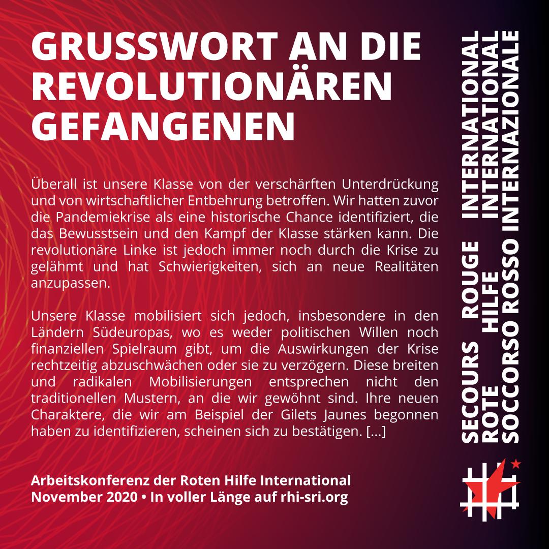 Grusswort an die revolutionären Gefangenen anlässlich der Arbeitskonferenz der RHI, November 2020.