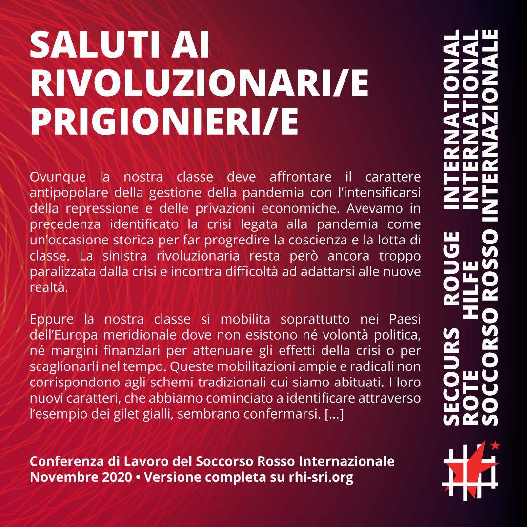 Saluto ai prigionieri e alle prigioniere in occasione della Conferenza di Lavoro del SRI – novembre 2020